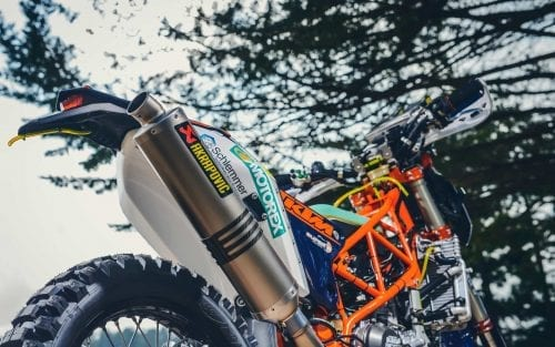 Up close of KTM motorcycle exhaust