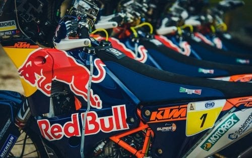 KTM Motorcycles with Red Bull signage lined up