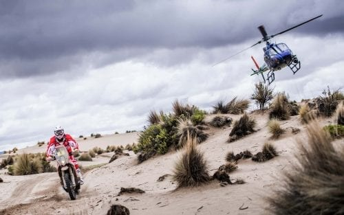 Gerard Farres Guell on KTM 450 RALLY in Dakar 2017 with helicopter