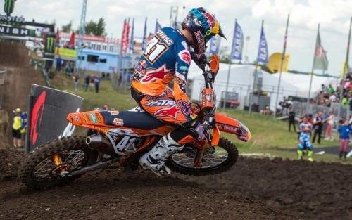 Rider Jonass in MXGP on dirt track