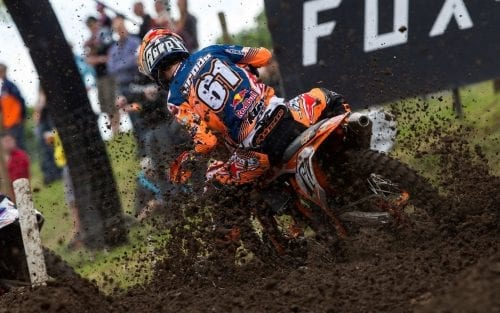 KTM MX Racer turning up the dirt