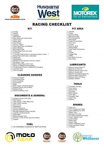 Raceworx Racing Checklist